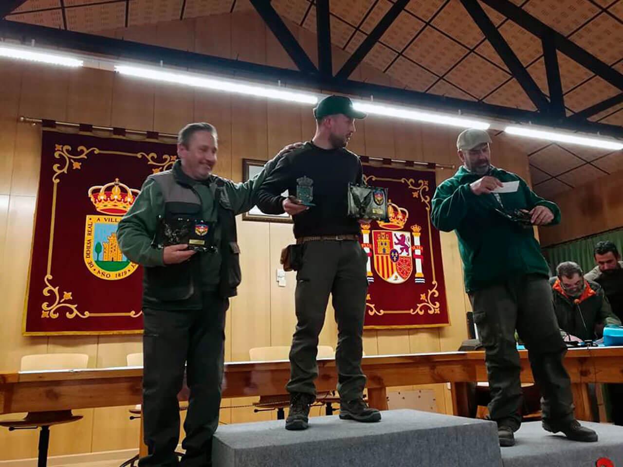 Campeonato Autonómico de Bajo Vuelo, de izquierda a derecha, D. Felipe García-Pardo Sánchez, Tercer Clasificado, D. Félix Martínez Trigo, Campeón Autonómico y D. Antonio Martínez Jiménez Subcampeón Autonómico.