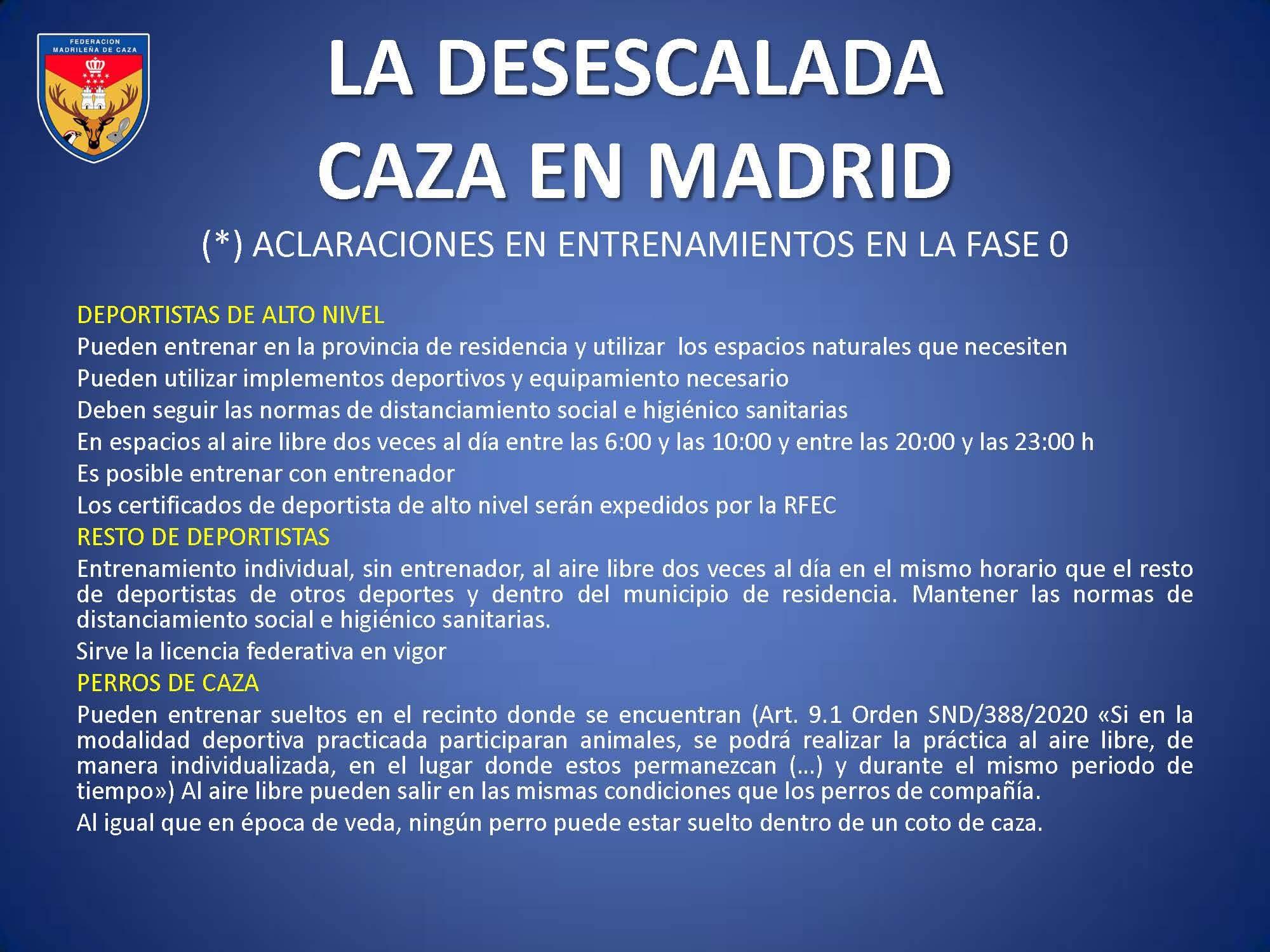 La desescalada. Caza en Madrid. Fases establecidas
